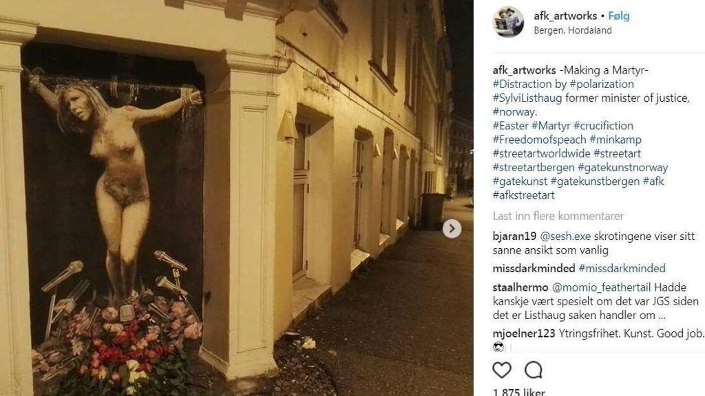 MAKING A MARTYR: AFK artworks har laget et maleri som fremstiller Sylvi Listhaug som korsfestet på Instagram. Tittelen på maleriet ser ut til å være «Making a martyr».