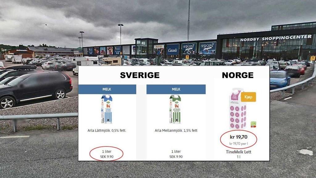 HALV PRIS: Rett over grensen koster melk halvparten så mye som i Norge.