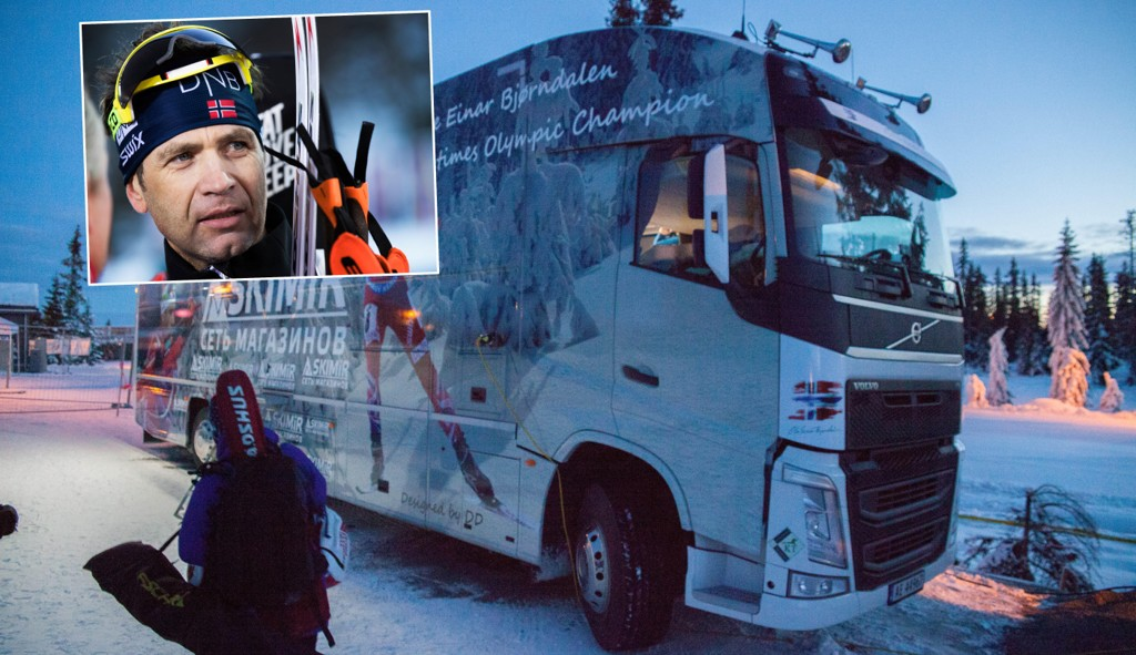 MILLIONINVESTERING: Ole Einar Bjørndalen har brukt flere millioner på sin spesialtilpassede trailer.