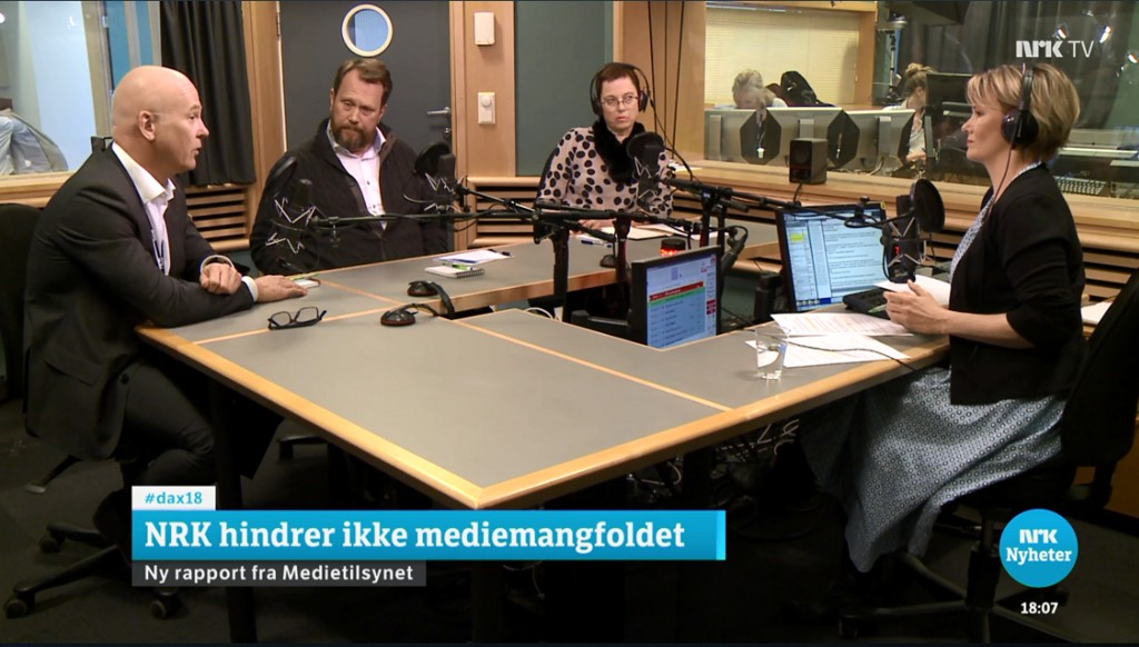 Et talende eksempel på at NRK klarer å produsere mediemangfoldet helt alene: Fire debattdeltakere - alle med tung NRK-bakgrunn - diskuterer NRK i NRK.