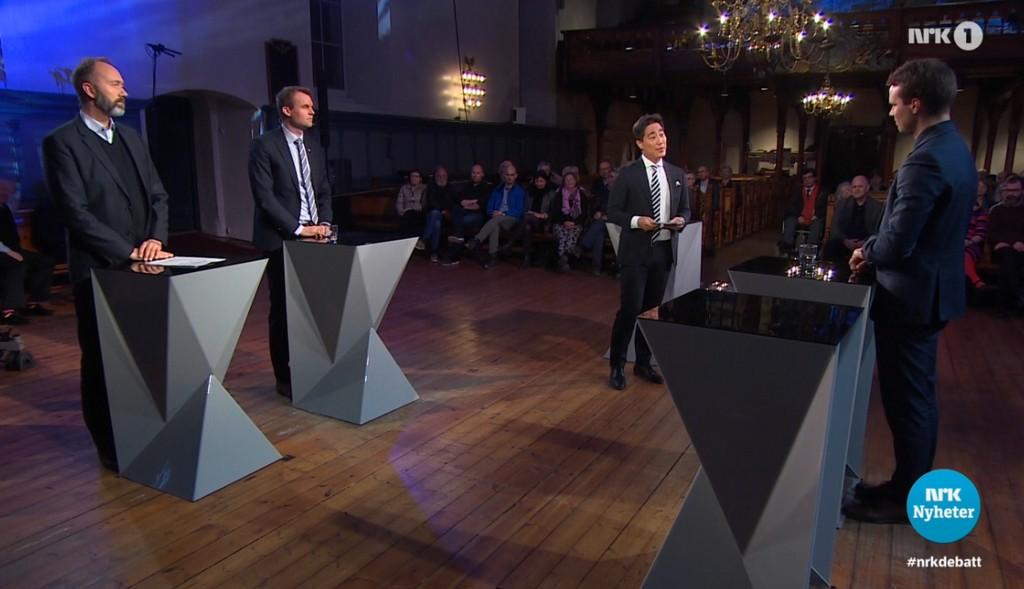 Stortingsrepresentant Trond Giske (Ap), KrFs Kjell Ingolf Ropstad og Frps Jon Helgheim deltok i Debatten på NRK om kirkepolitikk i Vår Frue kirke i Trondheim, med Fredrik Solvang som debattleder.