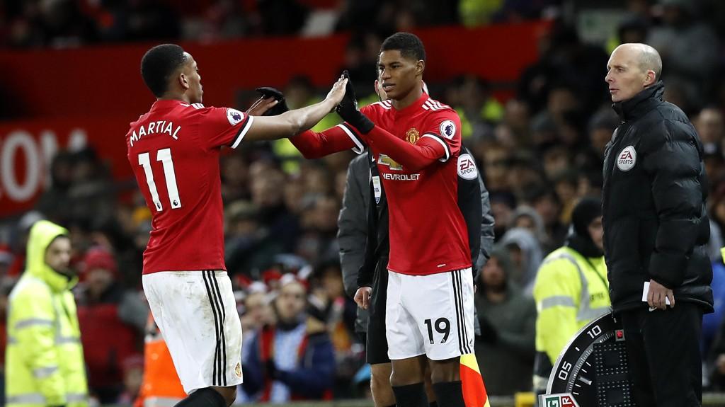 PÅ VEI UT? Både Anthony Martial og Marcus Rashford har fått mindre spilletid for Manchester United etter nyttår.