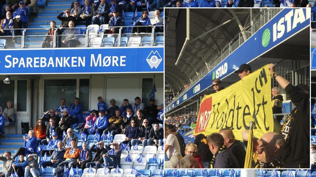 BLE FJERNET: Kanari-fansen ble nødt til å levere inn dette banneret under kampen mot Molde søndag.