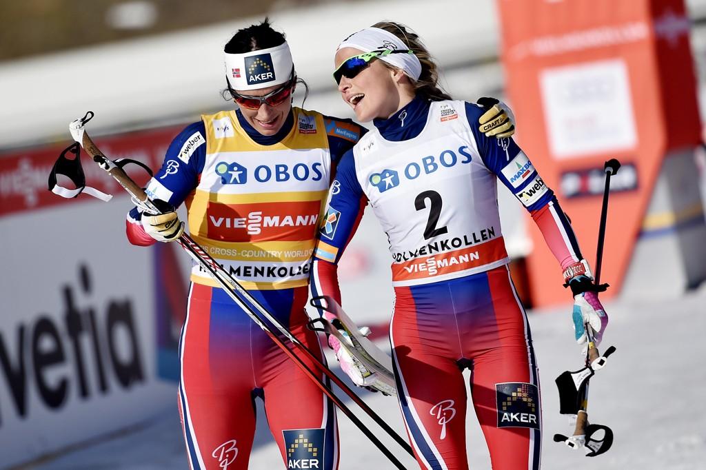 Marit Bjørgen (til venstre) gir seg, men Therese Johaug er snart tilbake på landslaget etter suspensjon. Foto: Jon Olav Nesvold / NTB scanpix