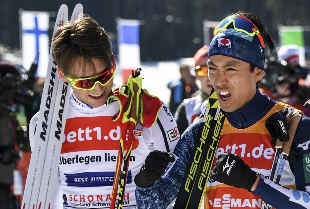 Jarl Magnus Riiber, Akito Watabe og resten av kombinerteliten kommer sent hjem til jul neste sesong. Foto: Patrick Seeger/dpa via AP / NTB scanpix