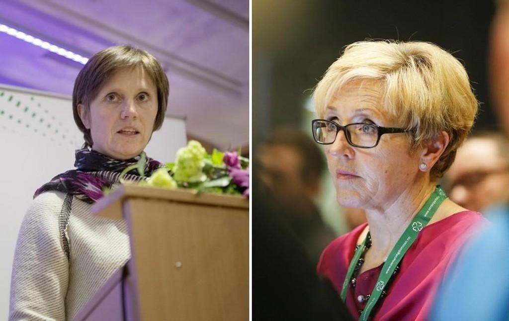 Kjersti Toppe (Sp) (til venstre) krever at personen som sendte den grove meldingen til Liv Signe Navarsete står fram.
