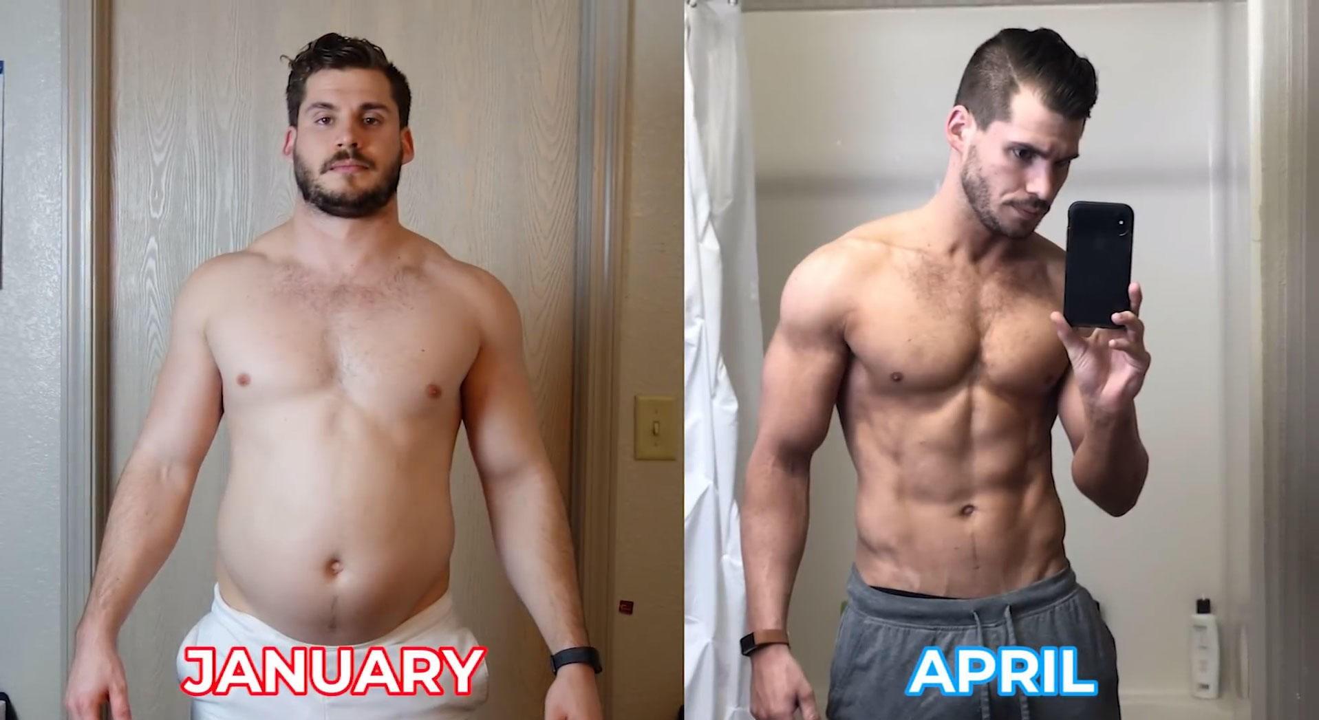 GIKK NED 20 KG: I tillegg til å bygge muskler, gikk Hunter Hobbs ned 20 kg på tolv uker takket være et strengt trenings- og kostholdsregime.