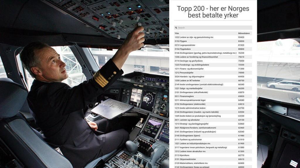 HØY LØNN: Flygere topper lista over Norges best betalte yrker, bare slått av ledere av olje- og gassutvinning. Illustrasjonsbilde.