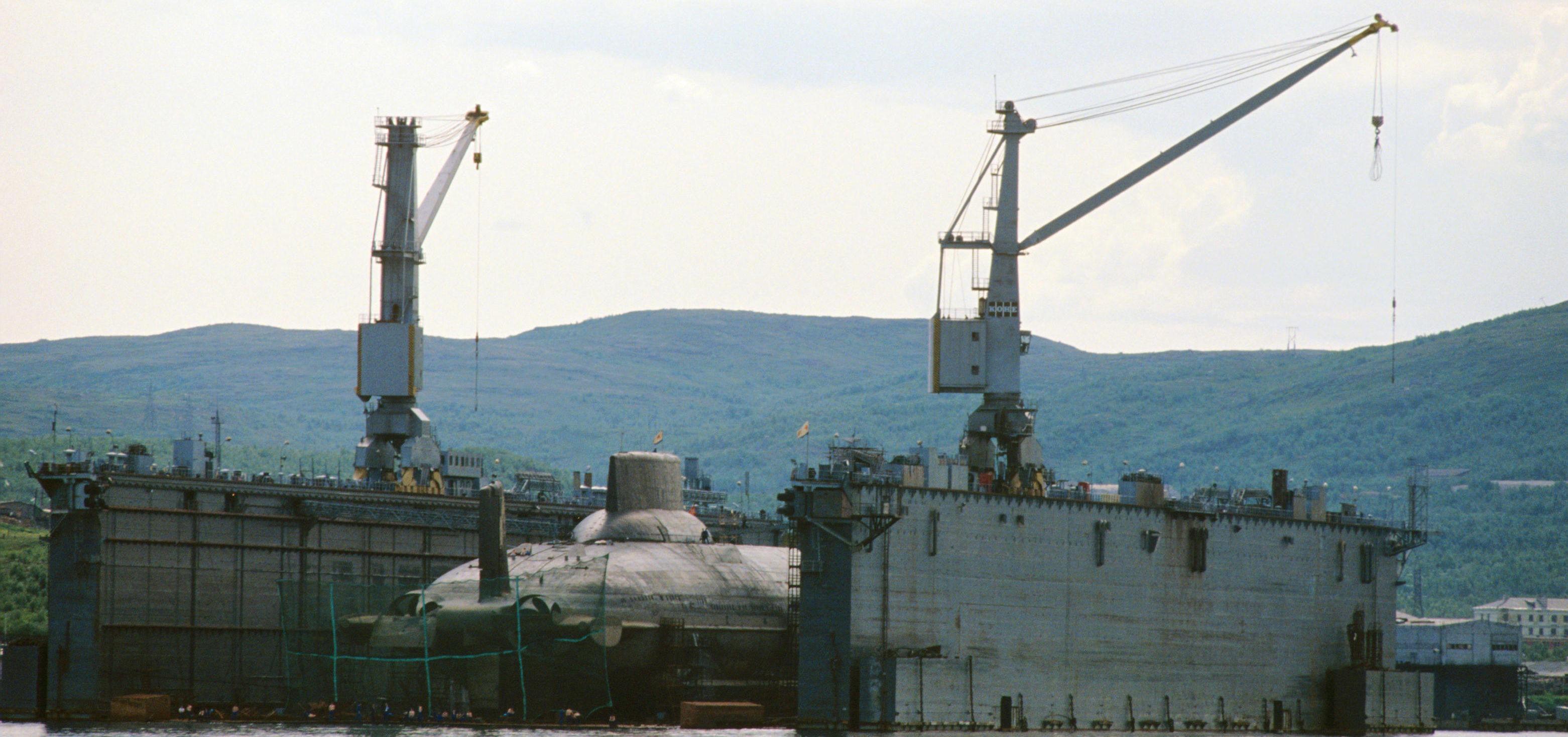 SPIONBILDER: Bilder som dette, tatt bak jernteppet fra norske handelsfartøy, var av stor verdi for vestlig etterretning under Den kalde krigen. Her er en Tyfon-klasse atomubåt, verdens største, fotografert av Vi Menn i dokk i Murmansk-fjorden i 1990.