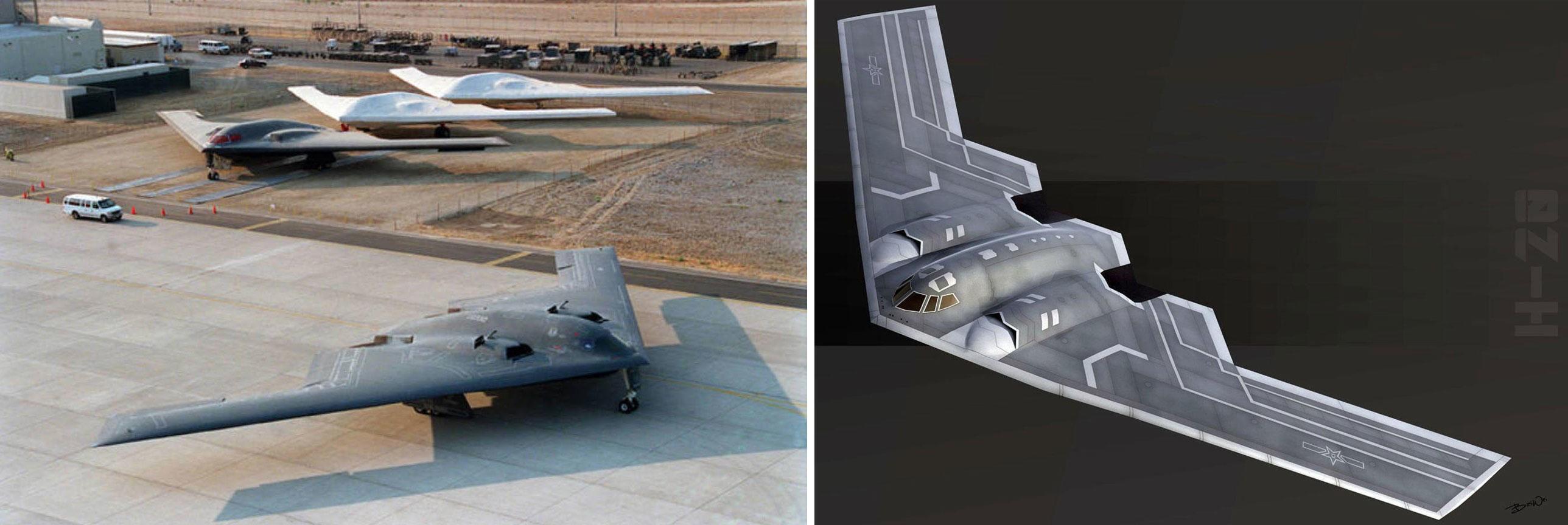 STRATEGISK BOMBEFLY H-20: Illustrasjonen til høyre er hvordan designeren Bai Wei ser for seg at Kinas nye bombefly H-20 kan se ut. Designet minner unektelig om USA B-2 Spirit (til venstre) og det kommende B-21.