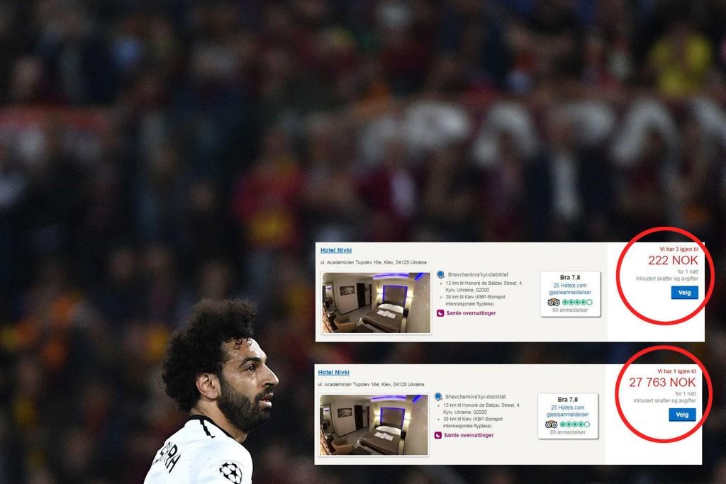 BLODPRIS: På Hotell Nivki i Kiev er prisen 125 ganger dyrere enn vanlig lørdag 26. mai, samme kveld som Mohamed Salah og Liverpool spiller Champions League-finale mot Real Madrid.