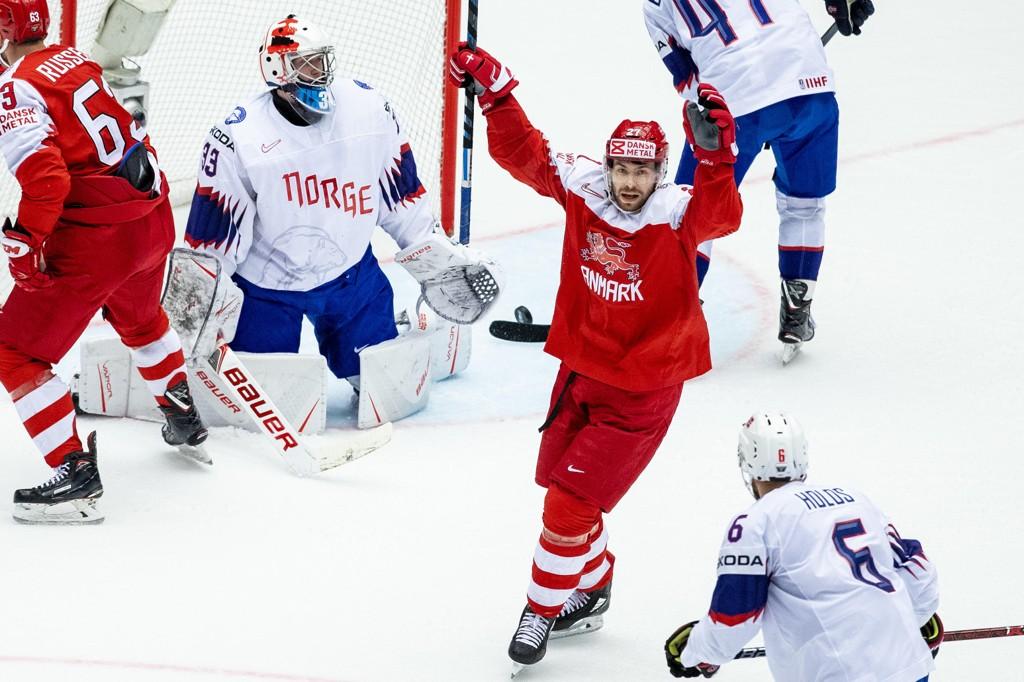 Danmarks Niklas Jenssen lekte med Norge i VM på hjemmebane, men laget klarte ikke å ta seg til kvartfinale etter 0-1 for Latvia i den siste kampen tirsdag. Foto: Tore Meek / NTB scanpix