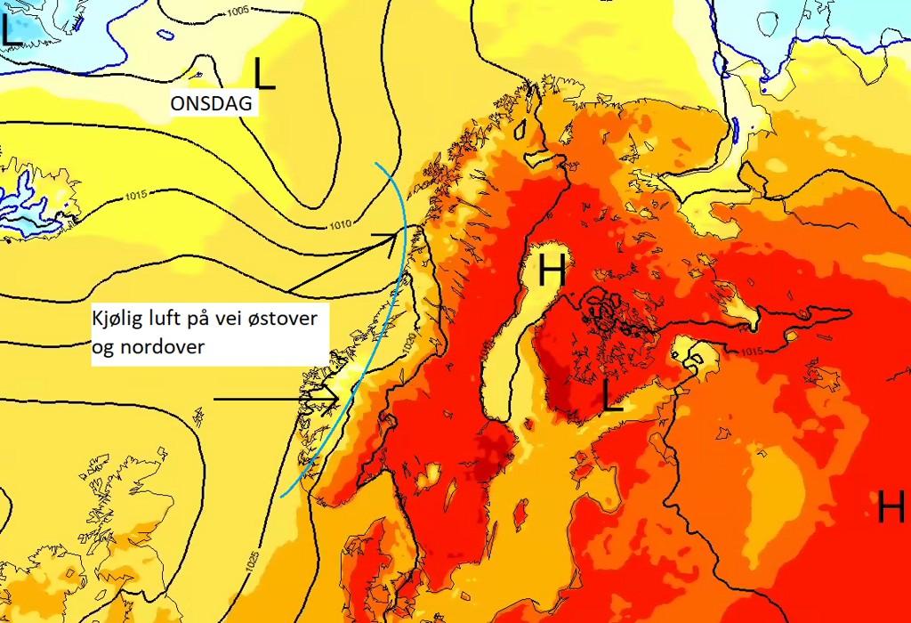 Kjøligere luft trekker østover og nordover i landet onsdag til torsdag morgen.