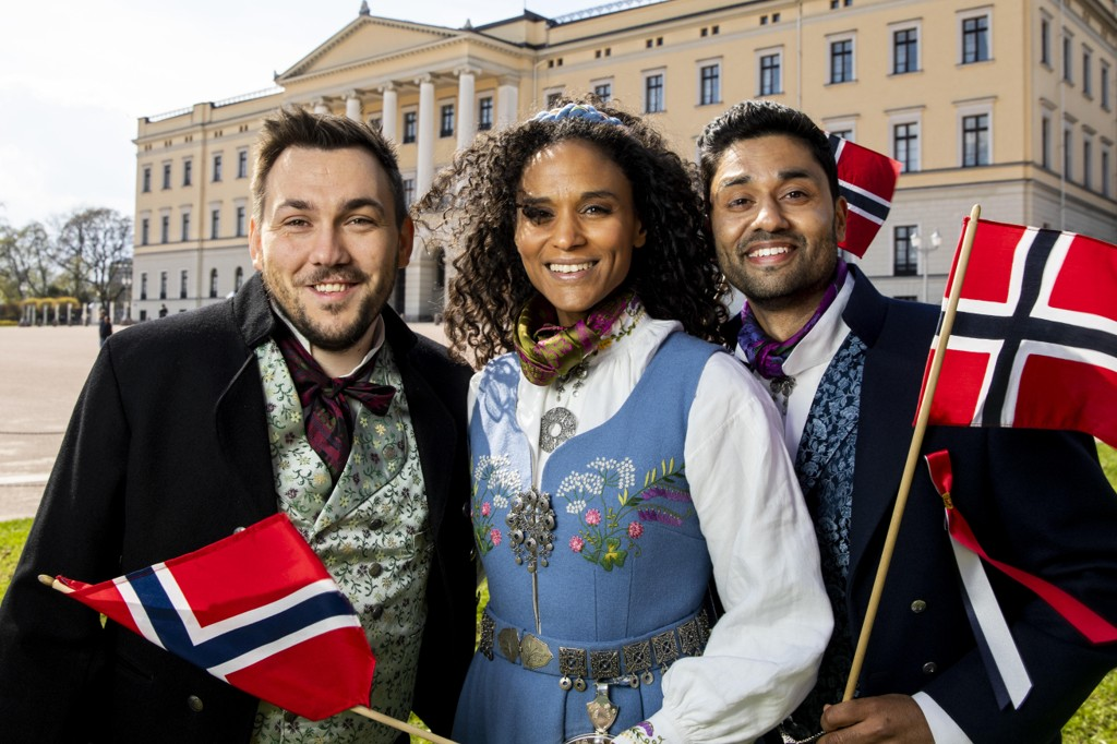 Dennis Vareide og Haddy N'jie skal likevel lede TV-sendingen hos NRK 17. mai, uten Noman Mubashir (t.h).