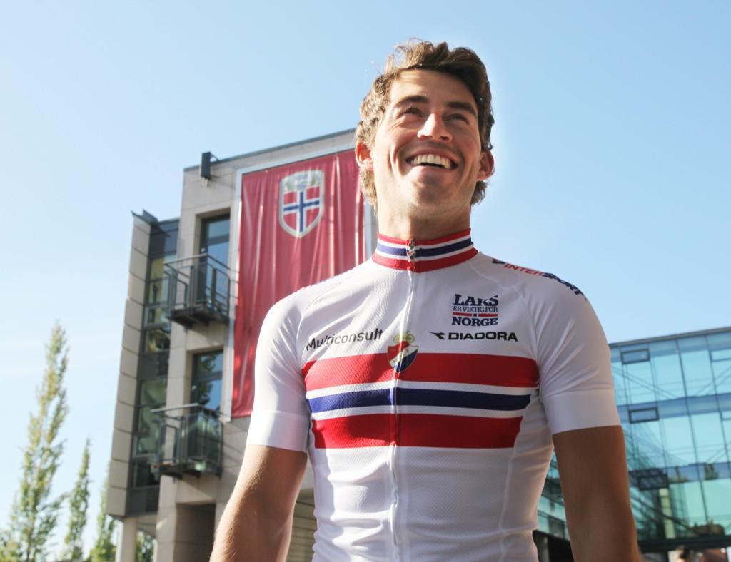 Sondre Holst Enger måtte nøye seg med annenplass på den første etappen i Tour of Norway onsdag. Foto: Terje Alstad / NTB scanpix