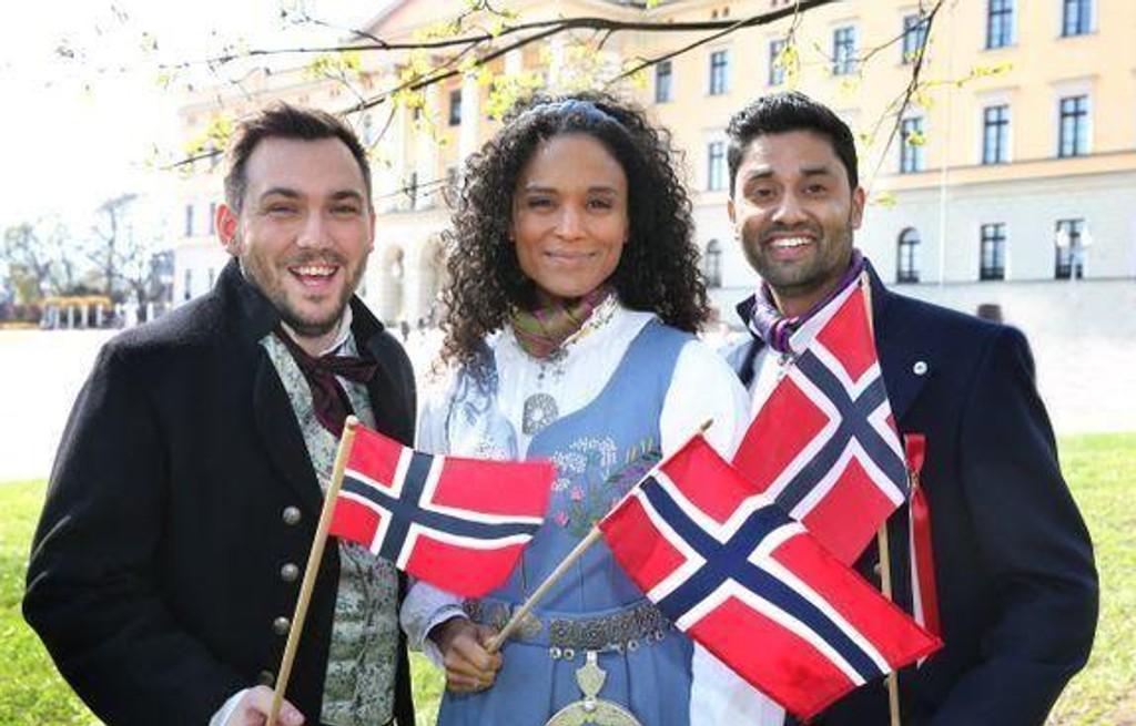 PROGRAMLEDERE: (F.v.) Dennis Vareide, Haddy N'Jie og Noman Mubashir skal lede NRKs 17. mai-sending.