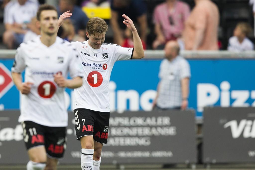 Martin Broberg scoret én gang da Odd knuste Sandefjord 5-0 i Eliteserien onsdag. Foto: Trond Reidar Teigen / NTB scanpix