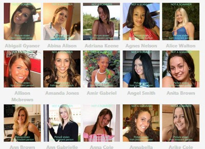 SVINDLERBILDER: Her er noen av de mest vanlige bildene av kvinner som svindlere bruker. På nettsiden scamdigger.com kan du se vanlige bilder av menn og kvinner som blir brukt av svindlere. Personene på bildene er uskyldige. Bildene deres blir misbrukt av svindlerne. Bildene er hentet fra scamdigger.com.