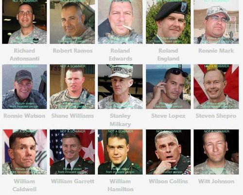 SOLDATER: Her er noen bilder av soldater som blir misbrukt av svindlere. På nettsiden scamdigger.com kan du bla gjennom bilder personer som svindlerne ofte utgir seg for å være.