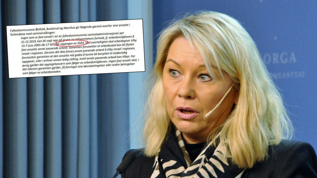 STORE KOSTNADER: Kommunalminister Monica Mæland kan bare se på at fylkene gir de ansatte varig vern mot oppsigelser i fem år etter sammenslåingene.