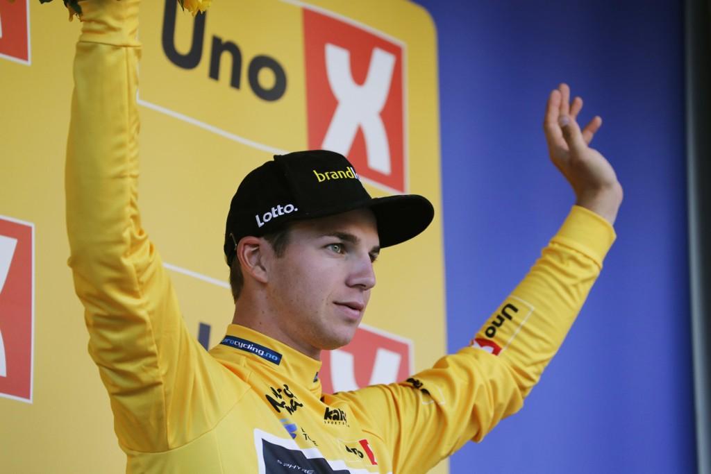 Dylan Groenewegen tok tilbake den gule ledertrøya med en ny etappeseier i Tour of Norway fredag. Foto: Cornelius Poppe / NTB scanpix