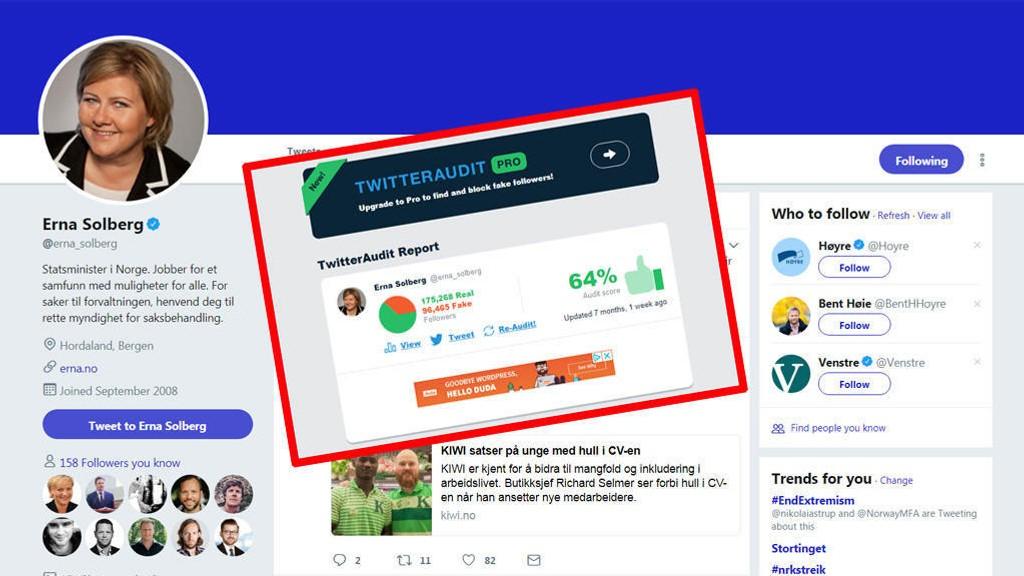 Twitter-kontoen til statsminister Erna Solberg hadde en stor andel falske følgere, viser en gjennomgang gjort av TwitterAudit for syv måneder siden.