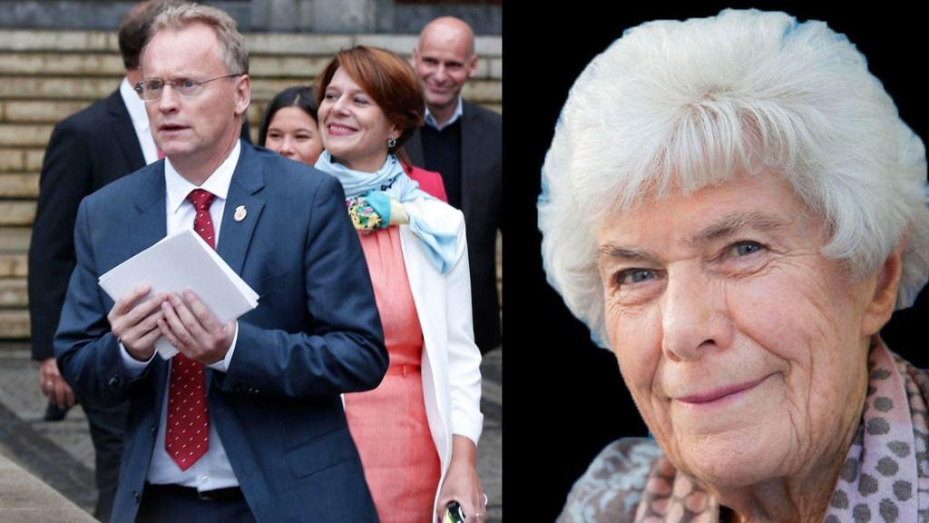 TVANGSFLYTTES: Byrådsleder Raymond Johansen og eldrebyråd Tone Tellevik Dahl står bak en politikk som fører til at 93-årige Ingrid Espelid Hovig blir tvangsflyttet fra Frognerhjemmet.