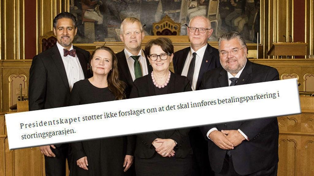 VIL HA GRATIS PARKERING: Fra venstre Abid Q. Raja, Eva Kristin Hansen, Nils T. Bjørke, tone Wilhelmsen Trøen, Magne Rommetveit og Morten Vold.