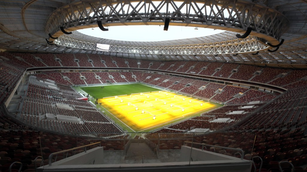 Luzhniki Stadion i Moskva er arenaen for VM's åpningskamp mellom Russland og Saudi Arabia.