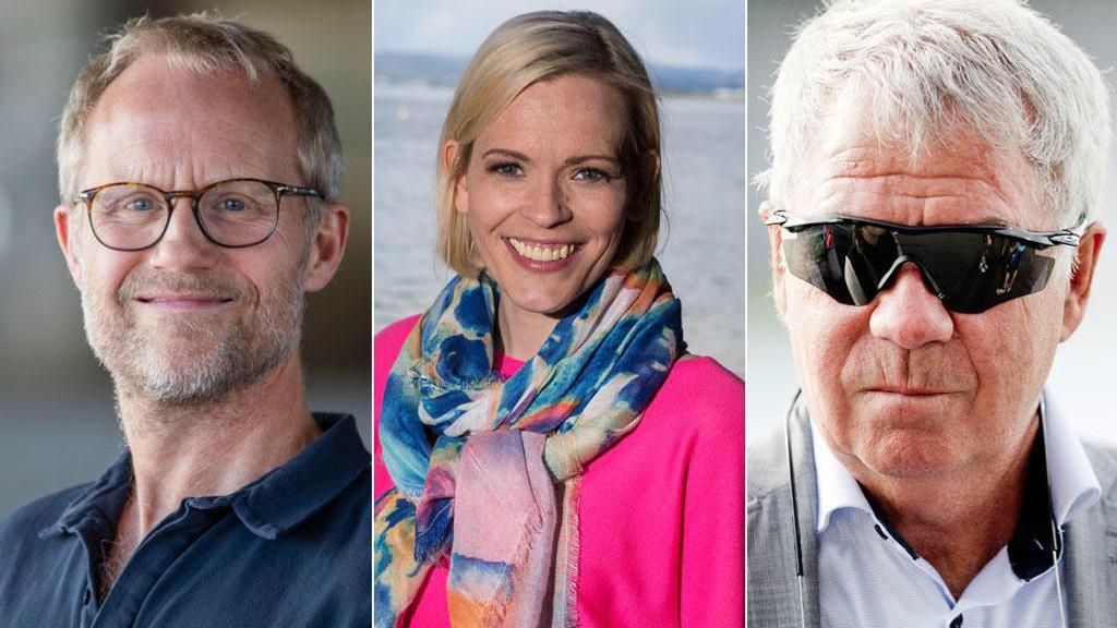 TRONER ØVERST: Øyvind Alsaker (kommentator, TV 2), Carina Olset (programleder, NRK) og Egil Drillo Olsen (ekspert, TV2 / NRK).