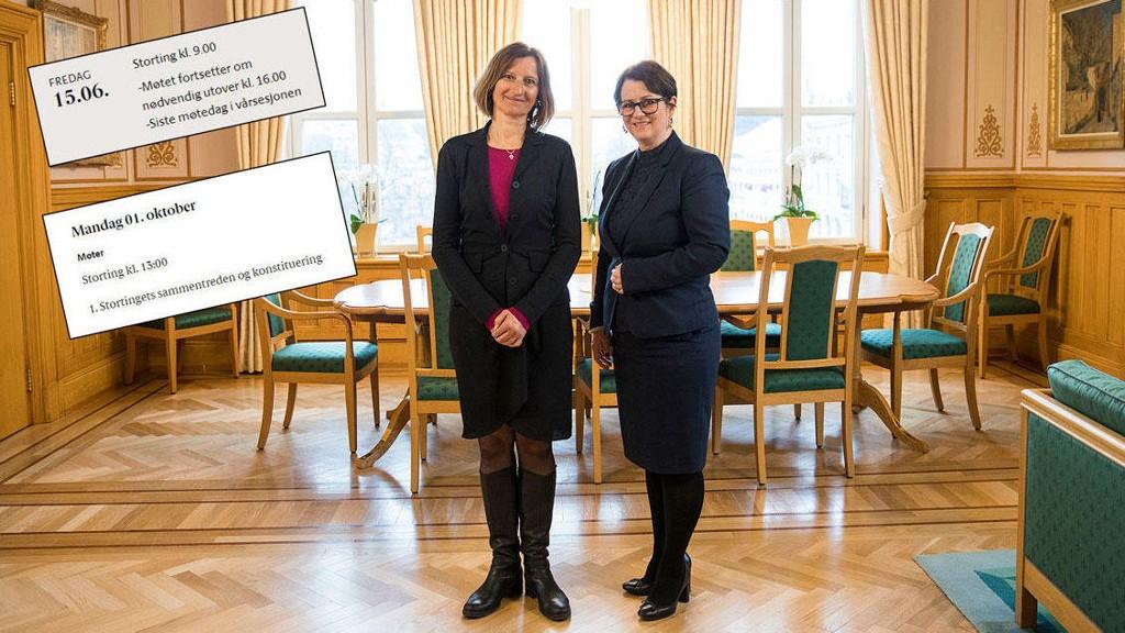 LANG STORTINGSFERIE: Fredag 15. juni er det siste møtedag på Stortinget. Neste møte er ikke før 1. oktober. Her den nye direktøren Marianne Andreassen og stortingspresident Tone Trøen.