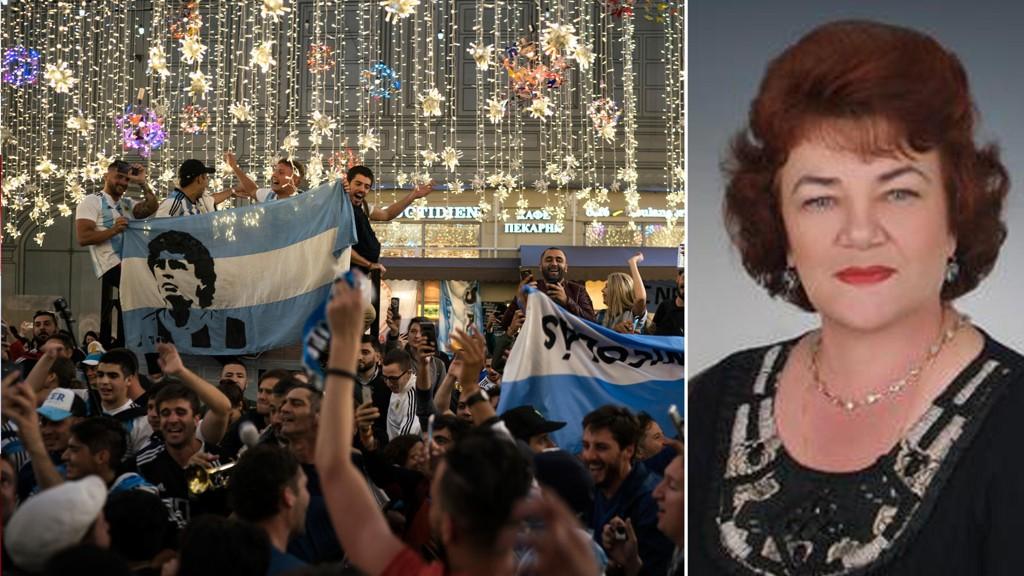Den russiske politikeren Tamara Pletnyova (bildet) advarer kvinner mot VM-sex med menn fra utlandet. På bildet ser du også fans fra Argentina som på onsdag samlet seg i sentrum av Moskva.