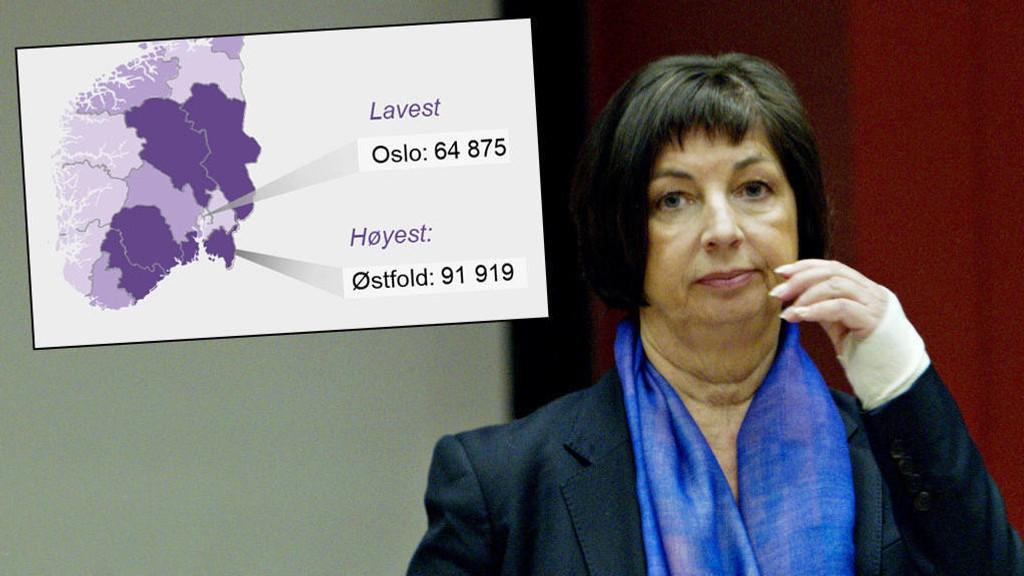 TRYGDETOPPEN: For hver innbygger i Østfold betaler NAV-sjef Sigrun Vågeng ut nesten 92.000 kroner i gjennomsnitt.