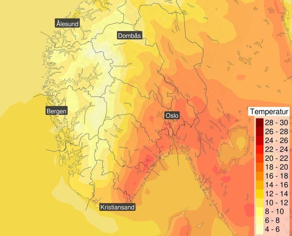 Slik ser temperaturkartet ut for Sør-Norge til helga.