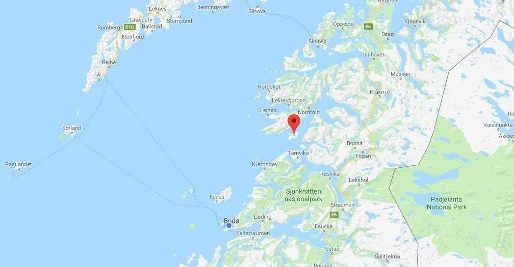 Det var utenfor Hjartøya utenfor Kjerringøy at padleren ble meldt savnet.