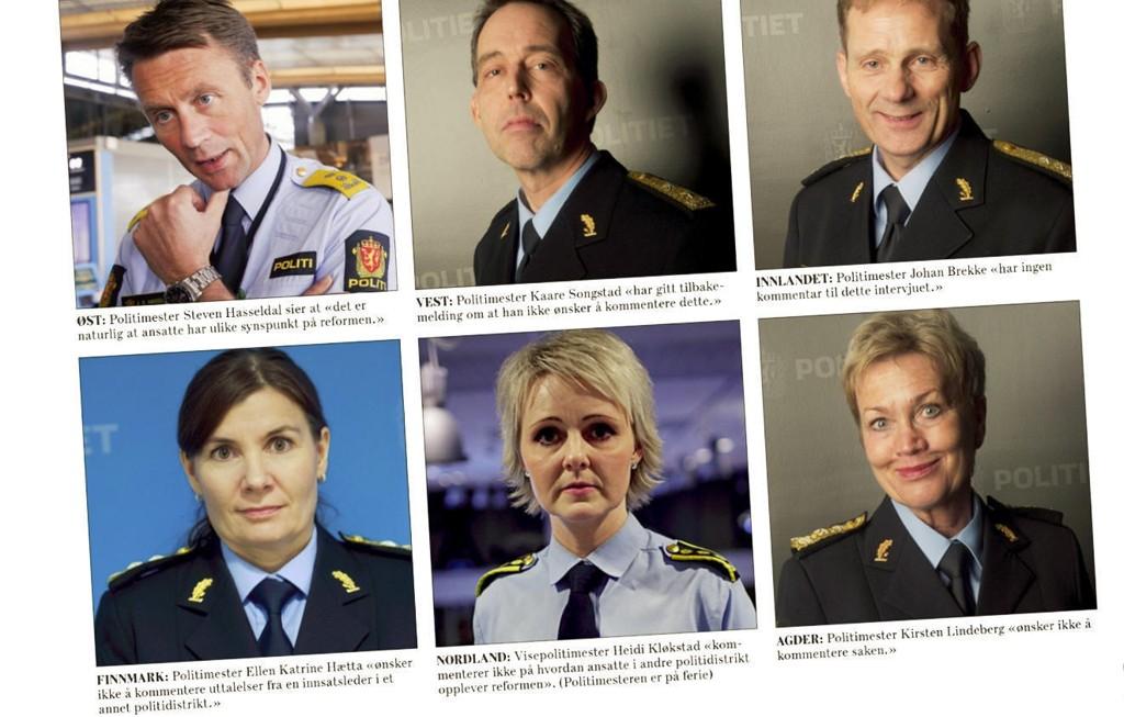 """PINLIG TAUSHET: Norske politimestre """"ønsker ikke"""" å kommentere politireformen. Da må de få beskjed om at det forventes av dem. Faksimile Dagsavisen."""