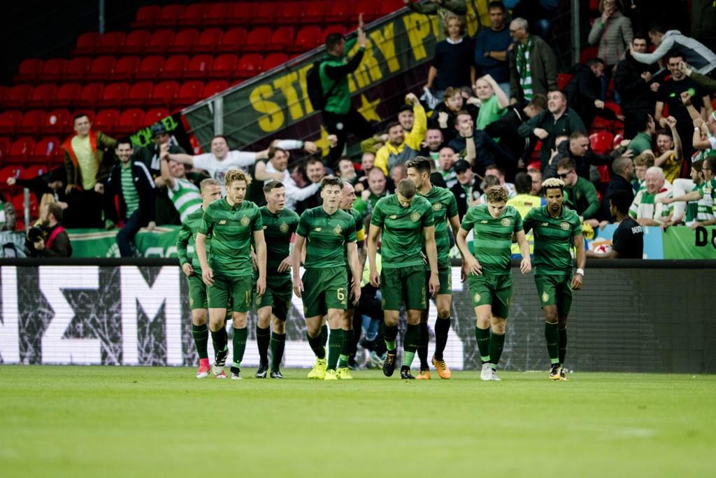 Celtic vant 3-0 over armenske Alashkert i sin første kvalifiseringskamp til mesterligaen. Her jubler skottene for seier mot Rosenborg i fjorårets kvalifisering. Foto: Ole Martin Wold / NTB scanpix