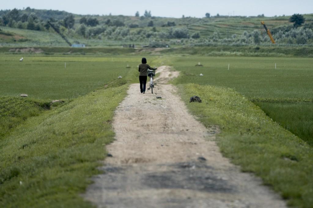 En kvinne vandrer langs en vei på landsbygda utenfor Pyongyang i Nord-Korea. FNs nødhjelpssjef er på besøk i det lukkede landet, og forteller om store humanitære behov. Foto: Andrew Harnik / AP / NTB scanpix