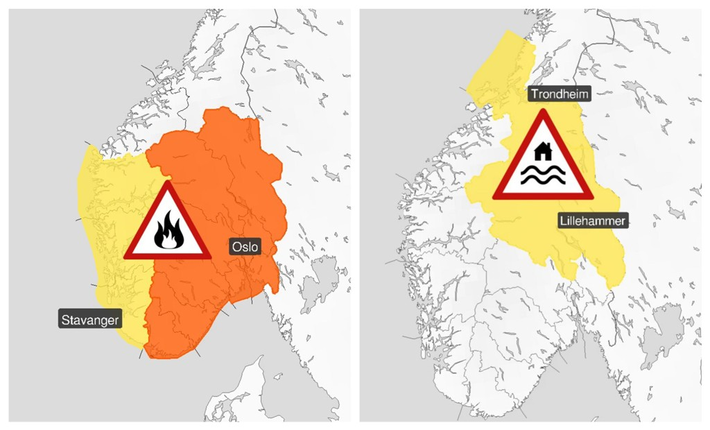 OBS-VARSEL: Meteorologisk institutt er ute med to farevarsler torsdag. Kjenner du betydningen av dem?