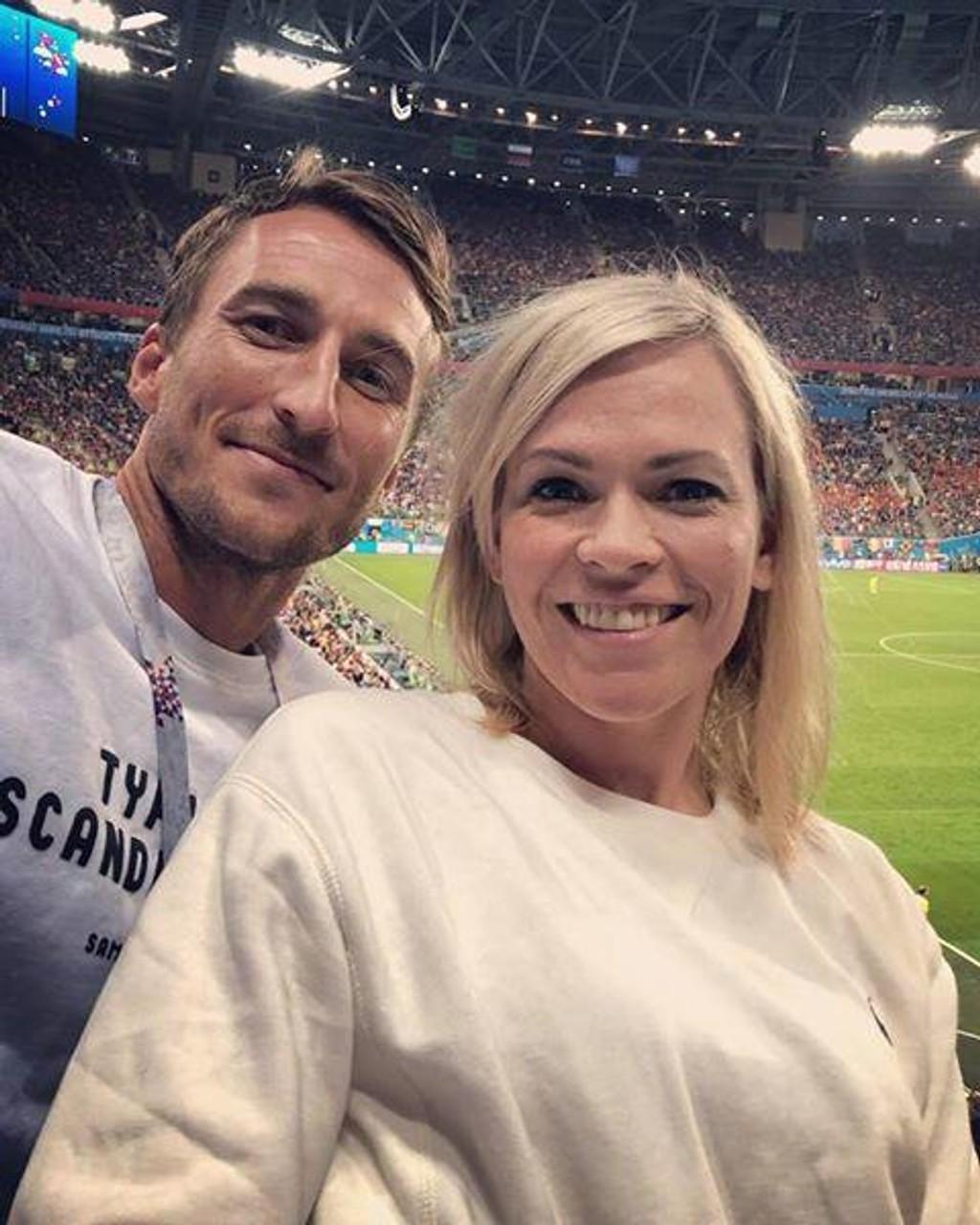 NRKs VM-programleder Carina Olset er blitt kjæreste med fotballspilleren Tor Øyvind Hovda. Foto: Privat / NTB scanpix