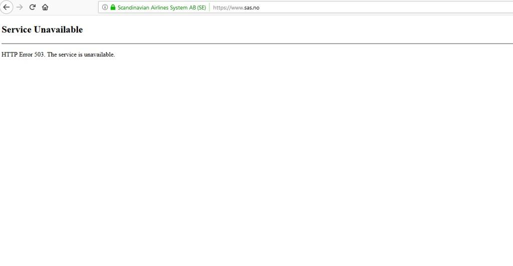 BLANKT: Dette er det som møtte deg om du forsøkte å gå inn på nettsiden til SAS torsdag ettermiddag.