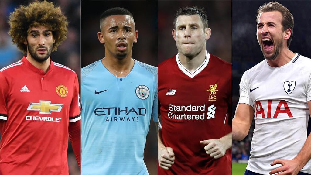 SNART NY SESONG: Fellaini, Jesus, Milner og Kane skal snart i gang med en ny Premier League-sesong.