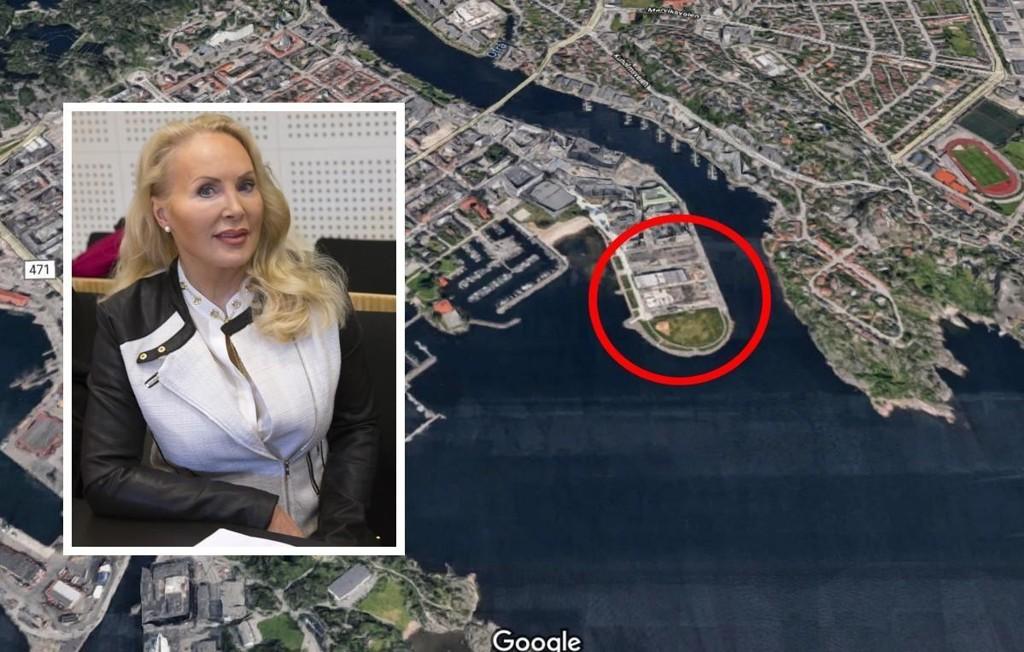 Kjendisadvokat Mona Høiness (innfeldt) og ektemannen selger halvparten av luksusleiligheten beliggende i Kristiansands nye «indrefilet» Tangen Ytterst (rød ring)