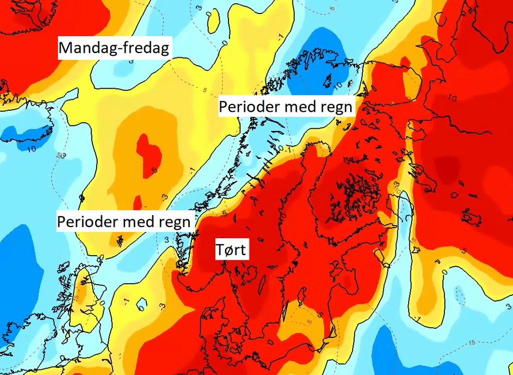 Vest og nord i landet blir det perioder med regn de neste dagene, blå farge indikerer at det kommer nedbør litt over det normale for disse dagene. Røde felter østafjells viser tørre forhold.