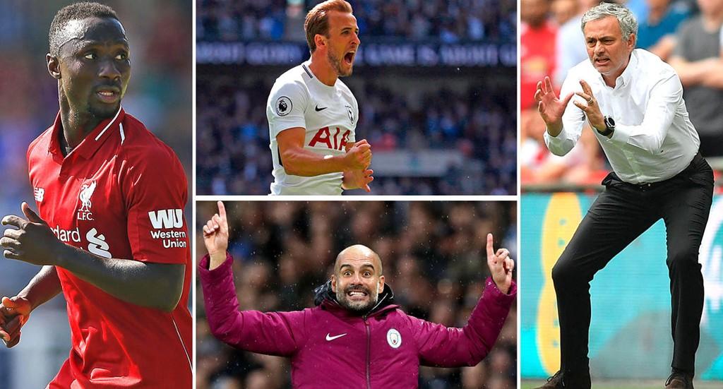 NØKKELPERSONER: Liverpool-nykommer Naby Keïta, Tottenham-storscorer Harry Kane, tittelforsvarer Pep Guardiola og managerrivalen José Mourinho skal kjempe om et nytt trofé for sine klubber i Premier League.