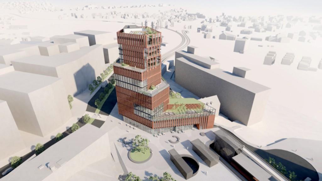 Sporveien AS ønsker et bygg på 15 etasjer over Brynseng stasjon. (Illustrasjon: Pir II Oslo)