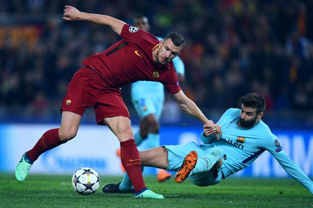 NY PLATTFORM: Serie A-kamper med blant andre Roma og Edin Dzeko (til venstre) blir vist på IMGs nye strømmetjeneste. Det samme gjelder Gerard Piqué og Barcelona i La Liga.