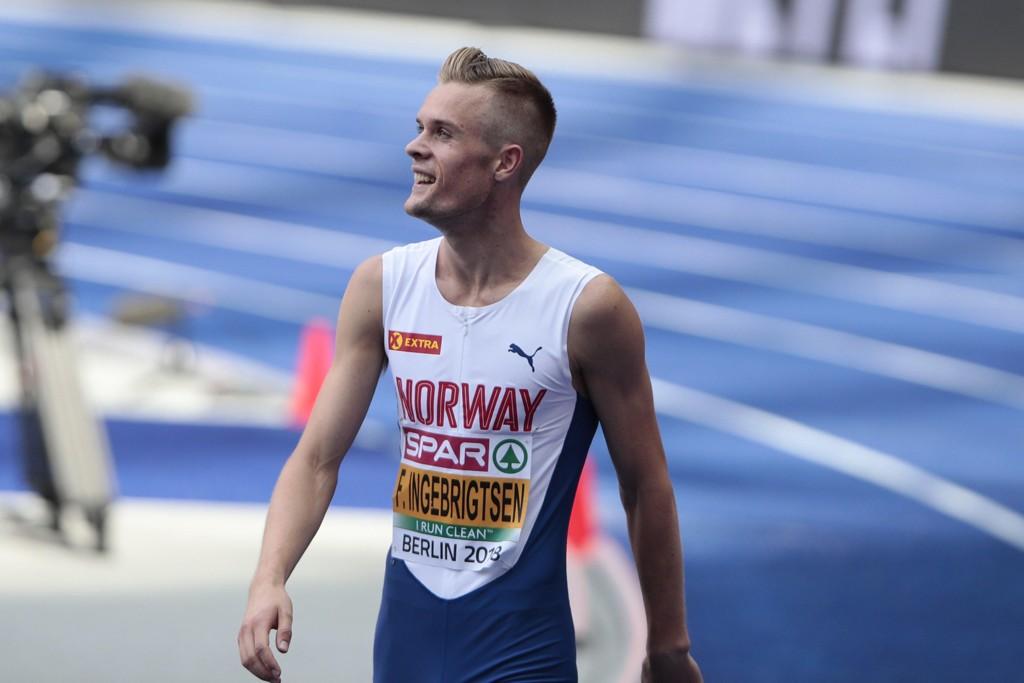 Filip Ingebrigtsen (Sandnes IL) under kvalifiseringen på 1500 meter i friidretts-EM på Olympiastadion i Berlin onsdag. Foto: Fredrik Hagen / NTB scanpix