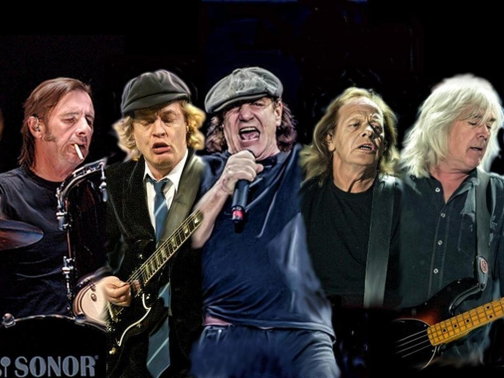 Photo art design av AC/DC medlemmene fra venstre: Phil Rudd, Angus Young, Brian Johnson, Stevie Young & Cliff Williams