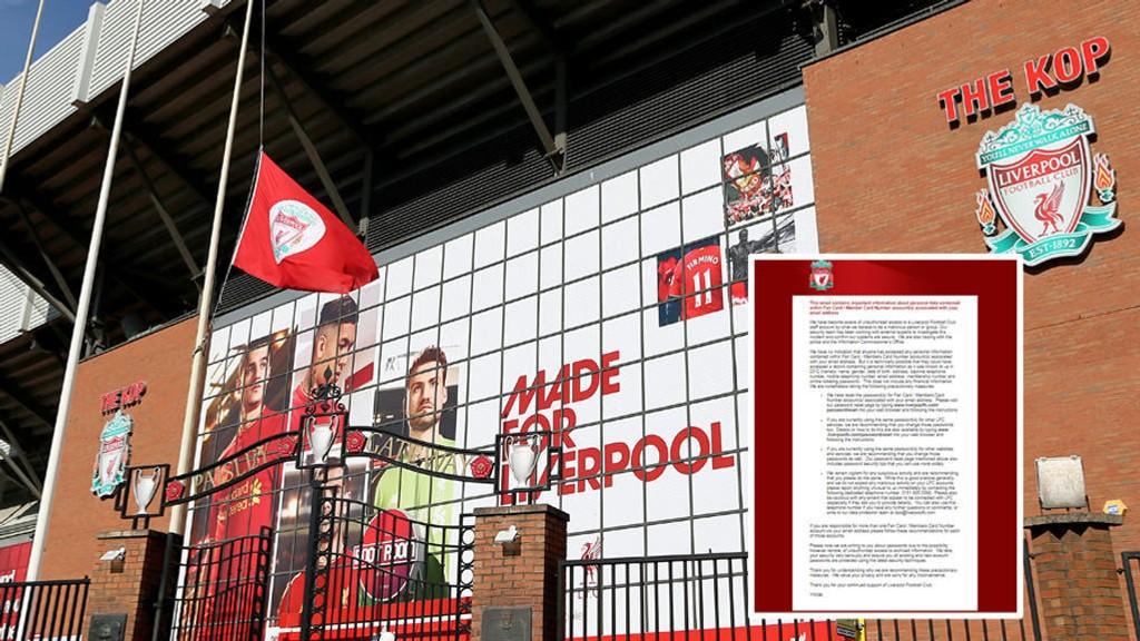 ADVARER: Liverpool går ut med advarsel (innfelt) om et datasikkerhetsbrudd som kan ha berørt fans og medlemmer.